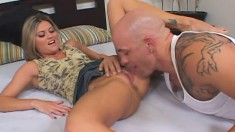 Blonde with tiny tits moans like crazy during a deep pounding
