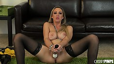 Abbey Brooks gets jiggy with the vibrator teasing and tickling her twat
