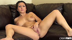 Charity spreads her lustful legs wide open showing off her tight juicy peach