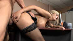Hot blonde secretary wants a bonus and he thought she meant boner
