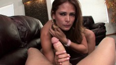 Busty Latina Monique Fuentes has a large dick making her snatch happy