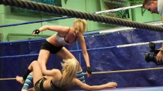 Two insatiable young lesbians get into a ring and get naughty