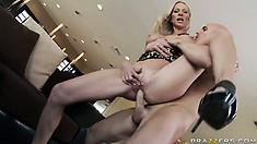 With fabulous big tits, she gets her wet pussy fucked hard and deep from behind