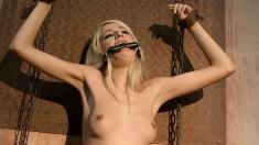 Submissive brunette brings her bondage fetish fantasies to fruition