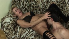 Mature blonde woman is eager to let in this stud's vicious cum gun