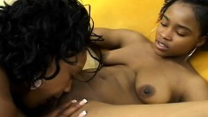 Black Lesbians Play Around Outside And Go In To Finish Eating And Toying