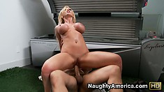 Busty blonde bombshell takes a dick deep in her throat and pussy