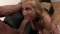Bodacious blonde milf in stockings Kelly gets nailed by a muscled stud