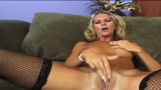 Sultry girl in fishnet stockings Heidi Brooks loves it black and huge
