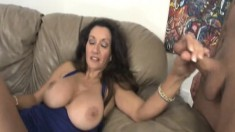Stacked brunette cougar Persia touches herself and strokes a big pole