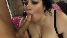 Horny plumper has her lips getting a big pole ready for her wet peach