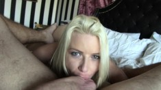 Striking blonde girl flaunts her amazing curves and fucks a long pole