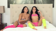 Two Striking Brunettes Enjoy A Hot Session Of Intense Lesbian Fucking