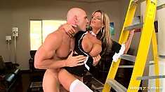 Hot blonde maid with huge melons climbs the ladder to take his cock deep