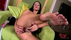 With a dildo in each of her lovely holes, the slim girl enjoys outstanding pleasure