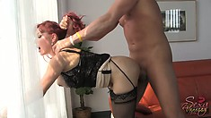 Pulling her hair, he bangs her pussy deep from behind and she screams with pleasure