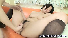 Lovely japanese MILF in stockings gets her hairy pussy teased