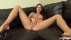 Hot brunette Hope Howell shows off her ass and fucks her dildo