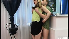 Kinky babe in nylons and high heels gets ass-fucked on a chair