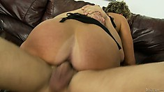 Mature blonde is eager to stuff her furry muff with his meat