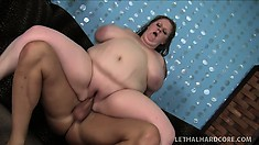 Fat as all fuck bitch gets her face covered in cum after fucking