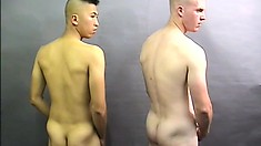 Two hot military guys stroke their big shafts until they explode with pleasure