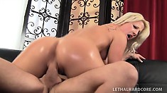 Blond Kimmy Olsen gets her pussy ready while sucking his cock