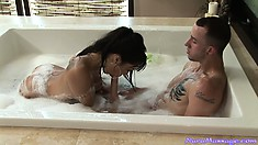 Horny Asian babe gets him all cleaned up and does a oily massage
