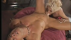 Dazzling blonde gives a great blowjob and receives that hard cock deep in her ass