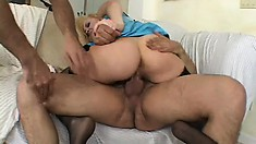 Two dicks are plugging one bitch and sticking them in all holes with a DP