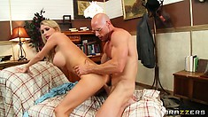 Big-breasted blonde bimbo bends over to take it like a horny bitch