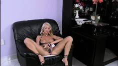 Smoking hot blonde chick plays around with her naughty sex toys