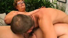 Chubby mature woman invites a young stud to take care of her desires