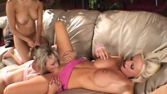 Three gorgeous lesbians enjoy using some big toys to get off