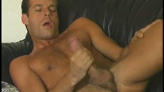 Strong guy loves feeling huge dick in his sensitive anal hole