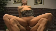 A horny office whore gets her tight pussy opened up in a rough scene