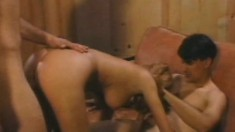 Three men bang the busty blonde's holes and she can't get enough of it