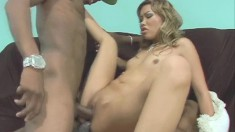 Wild Asian beauty with tiny tits gets double drilled by two black guys
