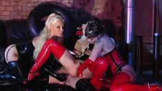 Claudia And Jannett Have A Latex Lesbian Pussy Party After The Club Closes