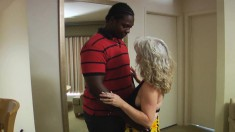 Stacked and horny blonde mature Stacey can't resist a hung black stud
