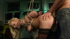 Sexy blonde in black stockings Sarah is the ultimate domination victim