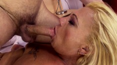 Stacked Blonde Mature Has A Young Stallion Deeply Banging Her Snatch