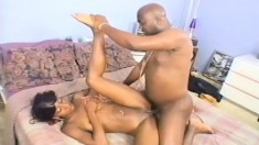 Round ass Koko eats black dick and gets her bald twat banged