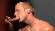 Muscled hunks showing off their amazing oral skills at the gloryhole