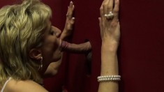 Hot mature lady with big tits reveals her oral skills at the gloryhole