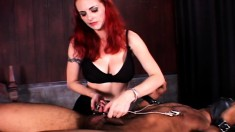 Naughty red-haired babe gets turned on and tortures a handsome buck