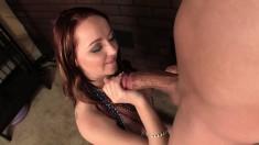 Ravishing redhead with amazing handjob talents feeds her lust for cum