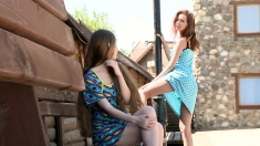 Sizzling Redhead Outdoor Lesbian Sex