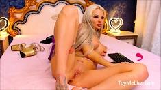 Blonde Tattoo Slut with Big Tits DP Fuck