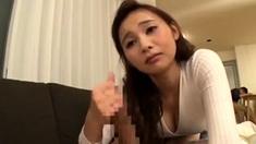 Asian Girl In Lingerie Giving Handjob To A Blindfolded Chum
